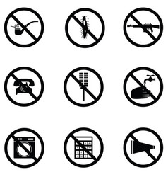 prohibition icon set vector image