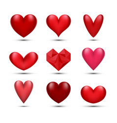 Red hearts set vector