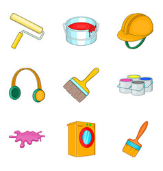 Renovation icons set cartoon style vector
