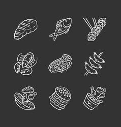 restaurant menu chalk icons set fast food italian vector image