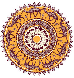 Round ornament pattern with camel vector