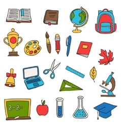 School and education set of hand drawn doodles vector image