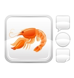 Sea beach and travel icon with shrimp seafood on vector