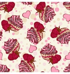 Seamless pattern with cupcakes with raspberries vector image