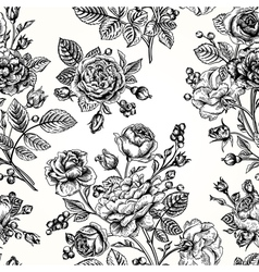 Seamless pattern with roses vector image