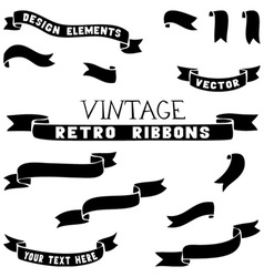 Set of ribbon silhouettes vector