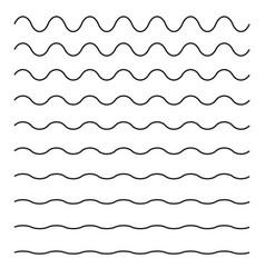 Set wavy horizontal lines design element vector