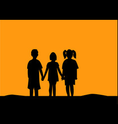 Silhouette of three children friendship vector