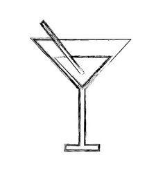 sketch draw cocktail cartoon vector image