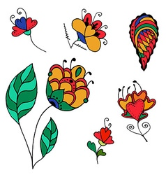 sketchy flowers vector image