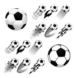 Soccer balls with different fly animations vector