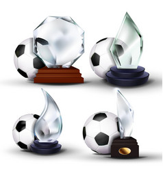 soccer game award set football ball glass vector image