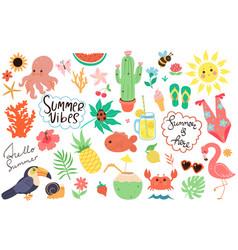 summer set hand-drawn elements cute vector image
