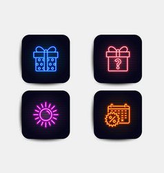 Sun secret gift and gift box icons calendar vector