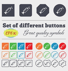 Syringe icon sign big set of colorful diverse vector