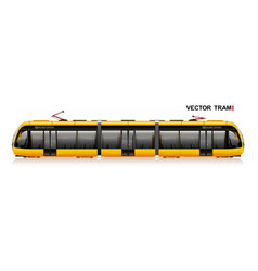 The modern city tram is yellow side view eco vector