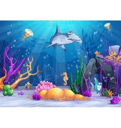 The underwater world with a funny fish and vector