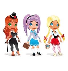 Three kind of ladies vector image