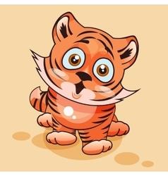 Tiger cub surprised vector