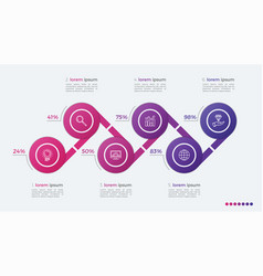 timeline infographic design with ellipses 6 steps vector image vector image