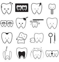 Tooth icon set thin line icon oral hygiene dental vector