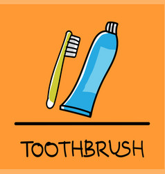 Toothbrush hand-drawn style vector