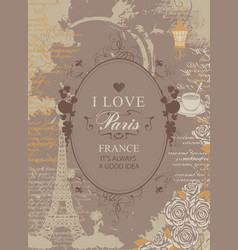 Travel banner with eiffel tower hearts and roses vector