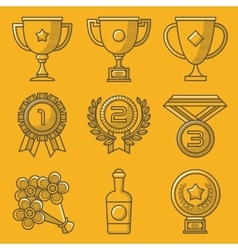 Trophy and awards Retro yellow icon set vector image