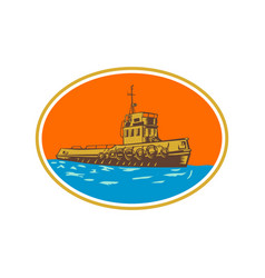 Tugboat tug towboat woodcut vector