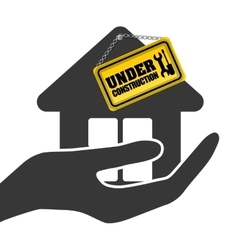 under construction hand hold house sign vector image