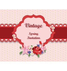 Vintage card with roses and spring flowers vector
