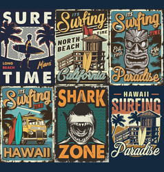 vintage colorful surfing posters set vector image