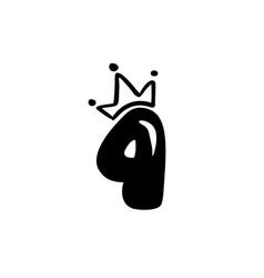 Vintage plump cute number 4 with crown vector