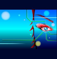 woman looking at virtual graphics vector image
