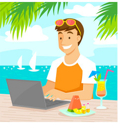 working at beach vector image
