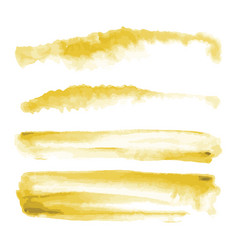 Yellow gold watercolor shapes splotches stains vector