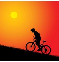 biker silhouette on the sunset vector image