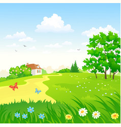 green countryside landscape vector image vector image
