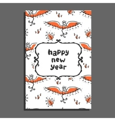 Happy new year greeting card with phoenix and vector image