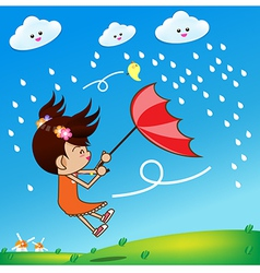 Little girl in rainny day 002 vector image