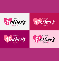 Mothers day card lettering set with heart vector