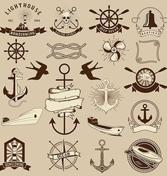 Set of the nautical emblems and design elements vector image vector image