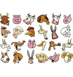Cartoon farm animals heads huge set vector image vector image