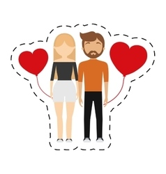 Couple relationship red hearts balloon vector