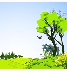 Forest sketch poster vector image
