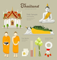 Thai Buddha and Temple with monks vector image vector image