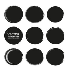 black circles set from black textured paint smears vector image vector image