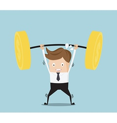 business concept businessman lifting heavy weight vector image