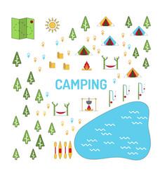 camping map set vector image