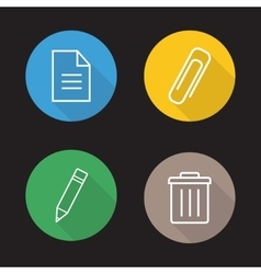 File editor flat linear icons set vector image